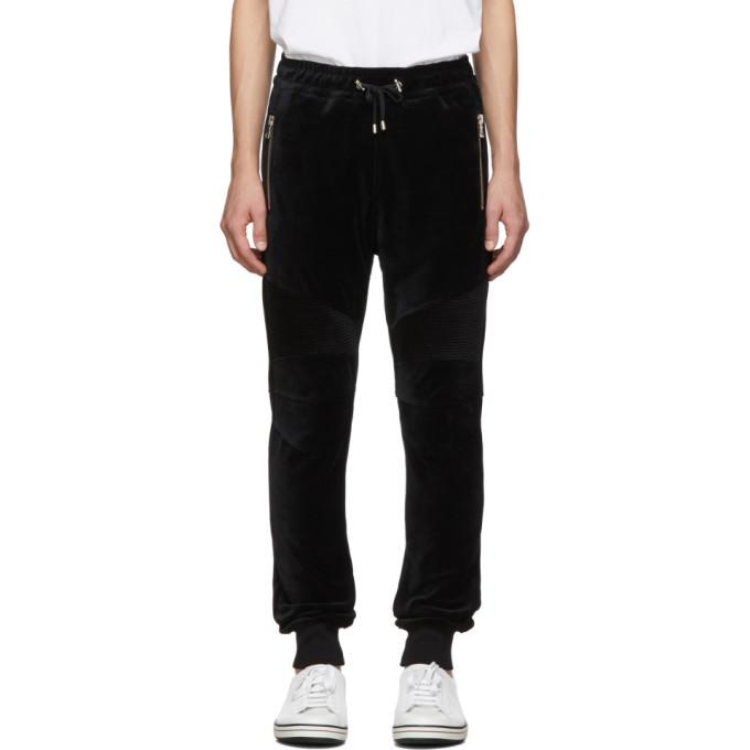 Photo: Balmain Black Velvet Ribbed Lounge Pants