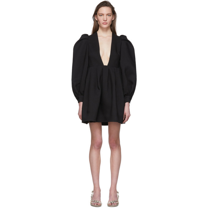 Photo: Valentino Black Wool and Silk Balloon Sleeve Short Dress