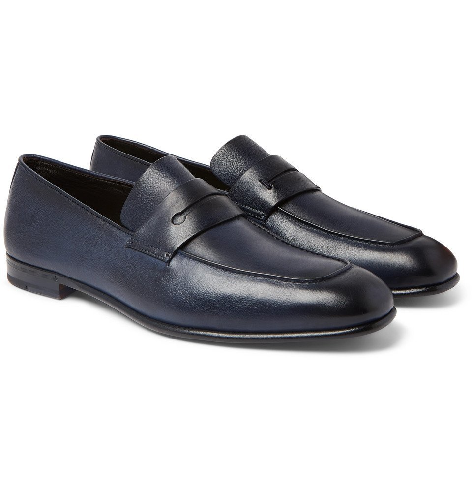 Photo: Ermenegildo Zegna - Asola Leather Penny Loafers - Midnight blue