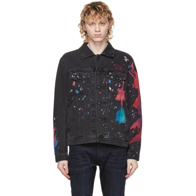 Photo: Diesel Black Denim Painted Nhill-C-SP Jacket