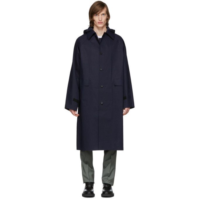 Photo: Kassl Editions Navy Below The Knee Trench Coat