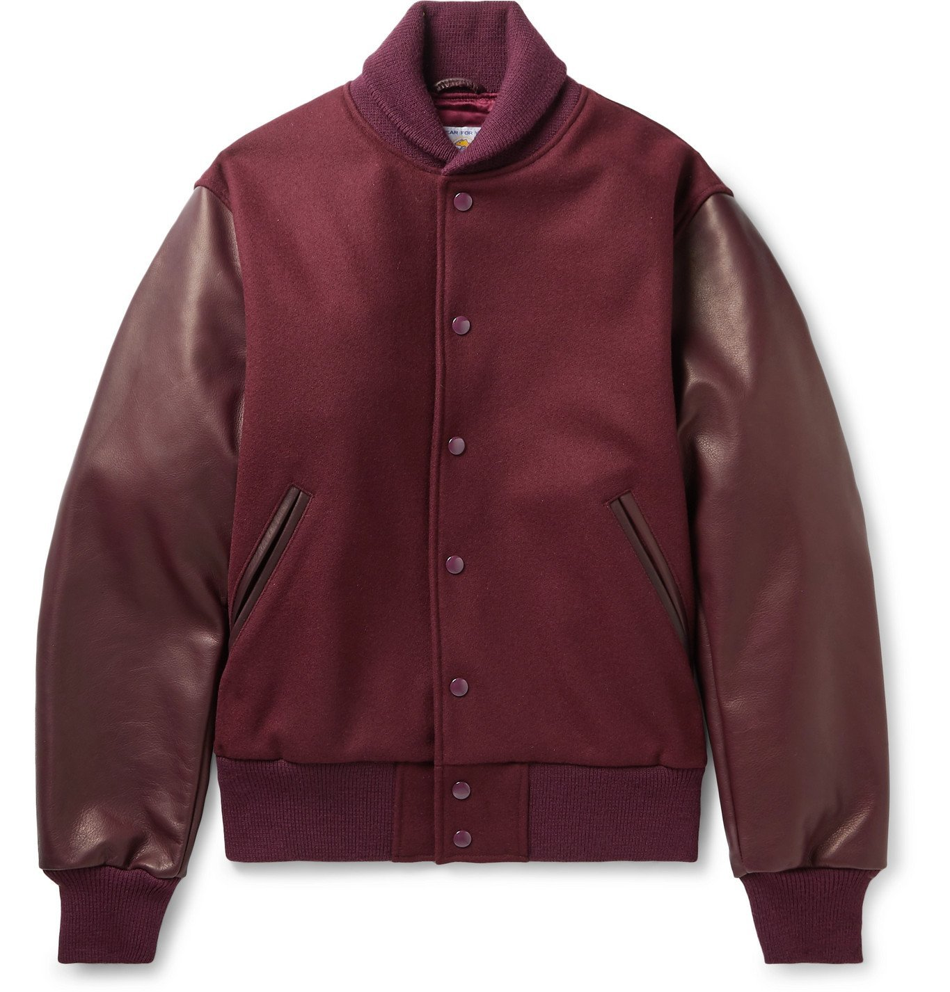 Photo: Golden Bear - The Albany Wool-Blend and Leather Bomber Jacket - Burgundy