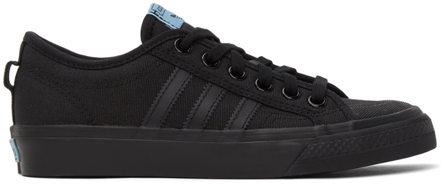 Photo: adidas Originals Black Canvas Nizza Sneakers