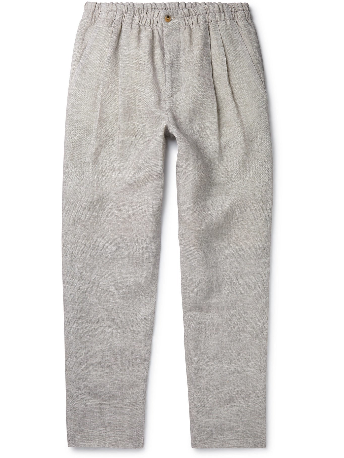 GIORGIO ARMANI - Tapered Pleated Mélange Linen-Piqué Trousers - Gray - IT 52