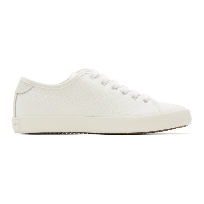 Photo: rag and bone White Canvas Court Sneakers