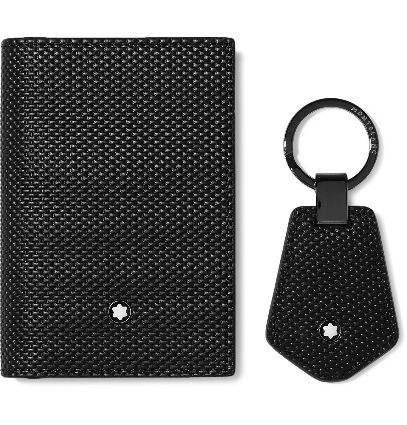 Photo: Montblanc - Woven Leather Business Cardholder and Key Fob Gift Set - Black