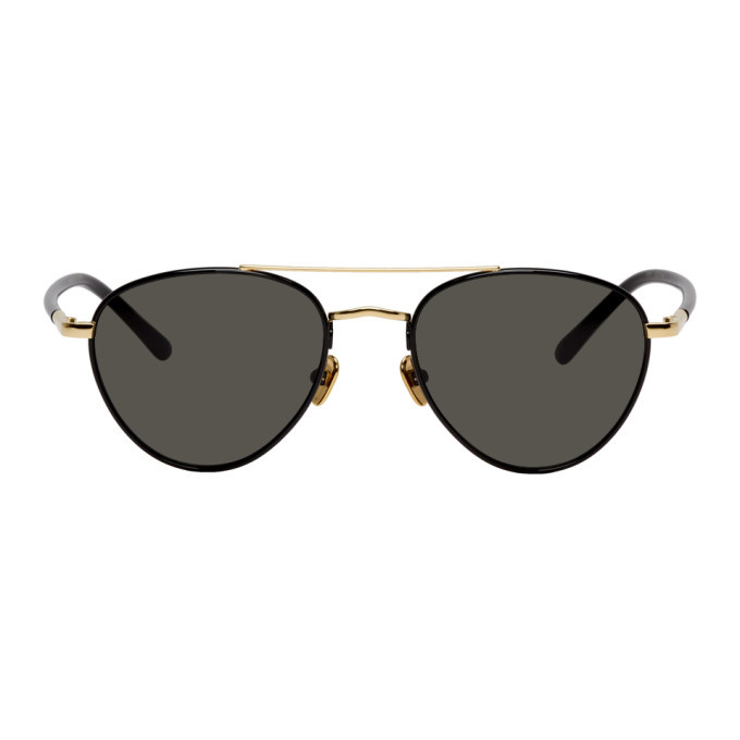 Photo: Linda Farrow Luxe Black and Gold Brodie C1 Sunglasses