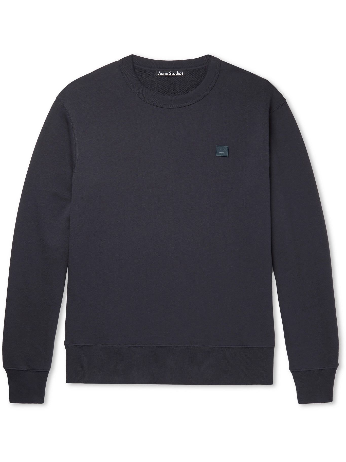 Photo: ACNE STUDIOS - Logo-Appliquéd Organic Cotton-Jersey Sweatshirt - Blue