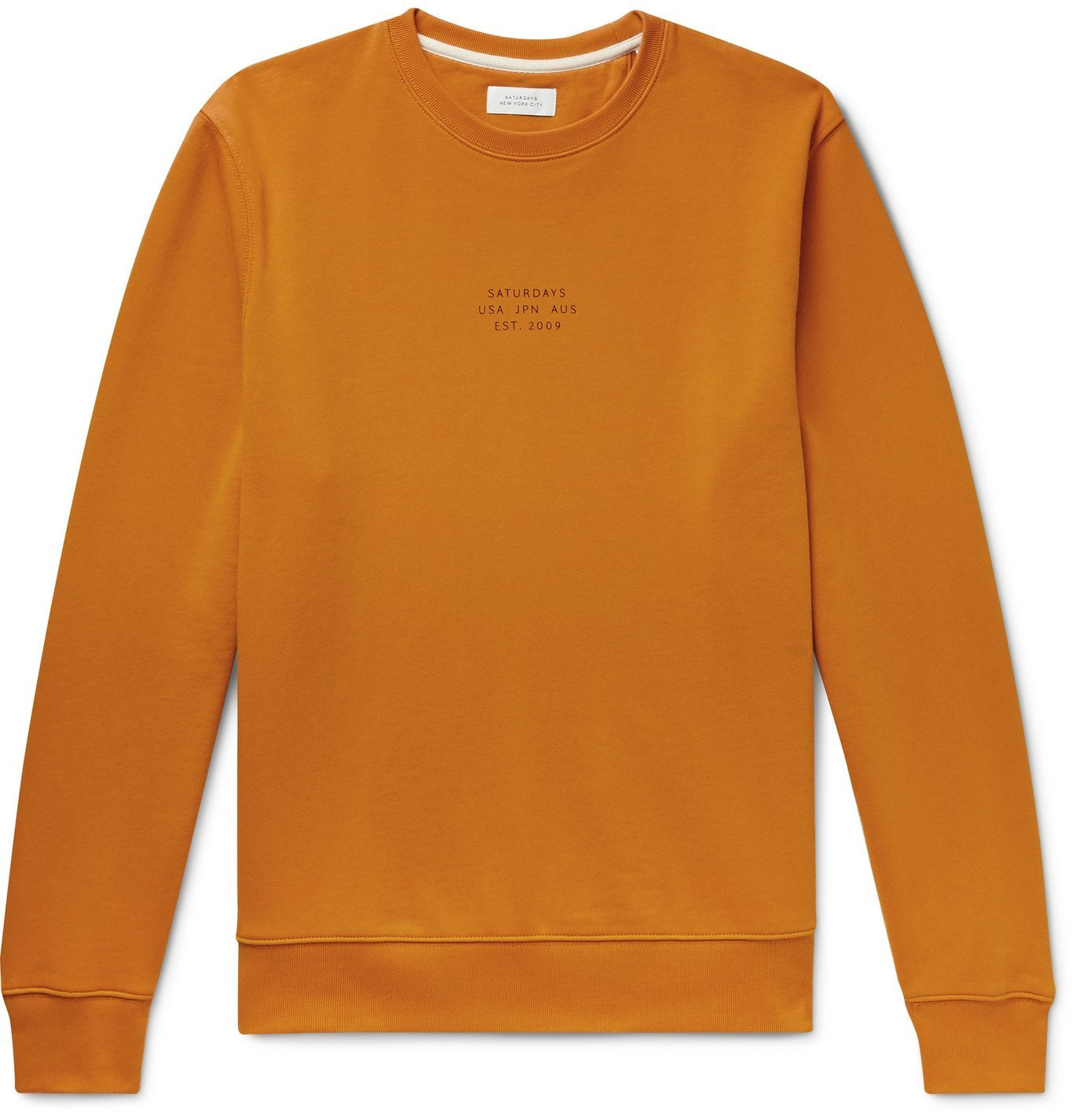 Photo: Saturdays NYC - Bowery United Logo-Print Cotton-Jersey Sweatshirt - Orange