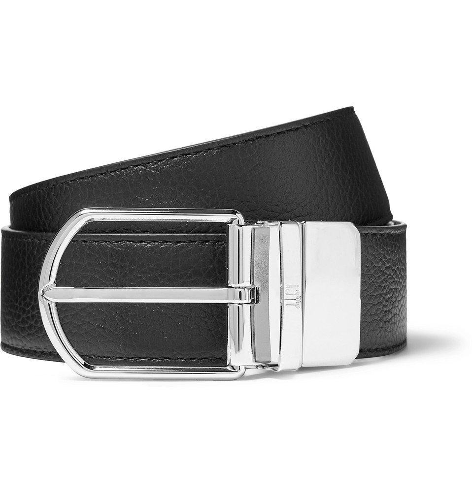 Dunhill - 3.5cm Black and Midnight-Blue Reversible Full-Grain Leather Belt - Men - Black