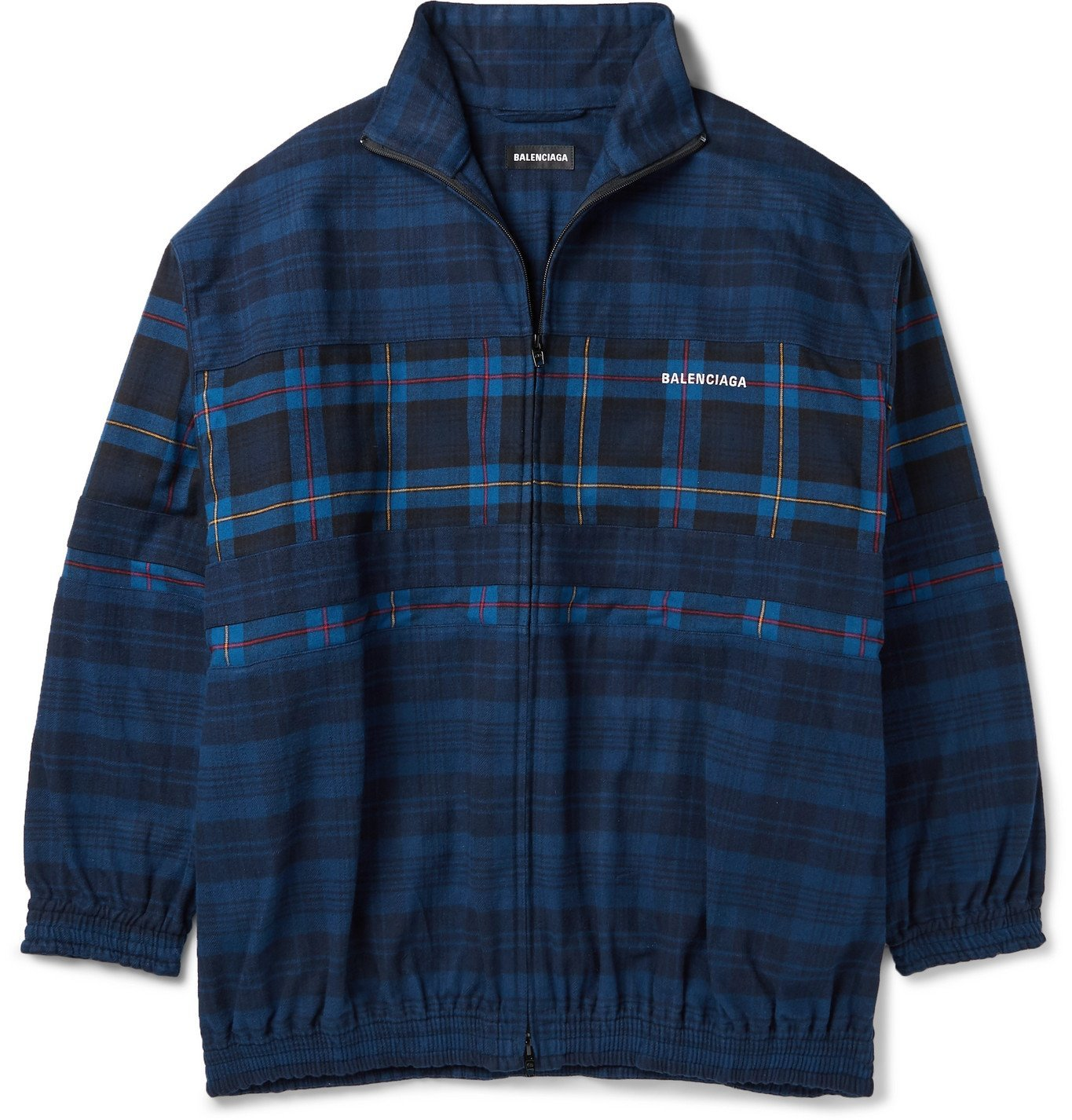 Photo: Balenciaga - Oversized Checked Cotton-Flannel Bomber Jacket - Blue