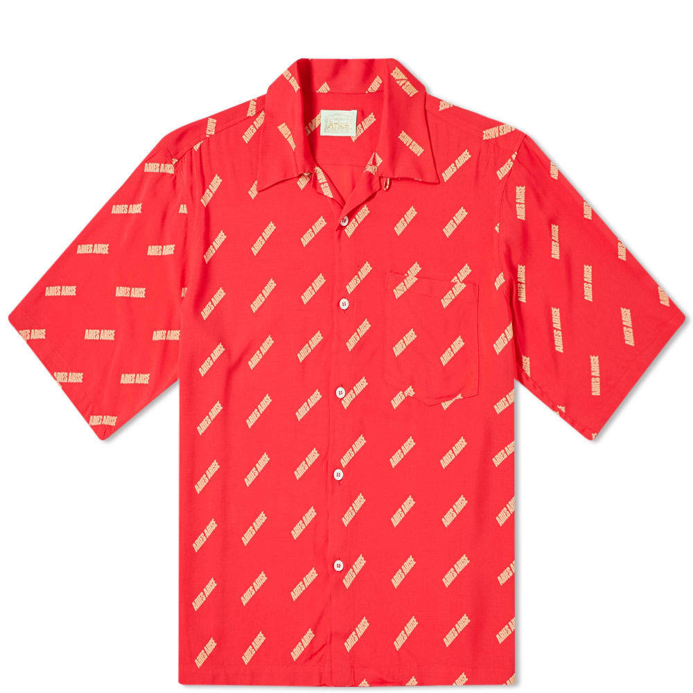 Aries Logo Print Bowling Shirt Red