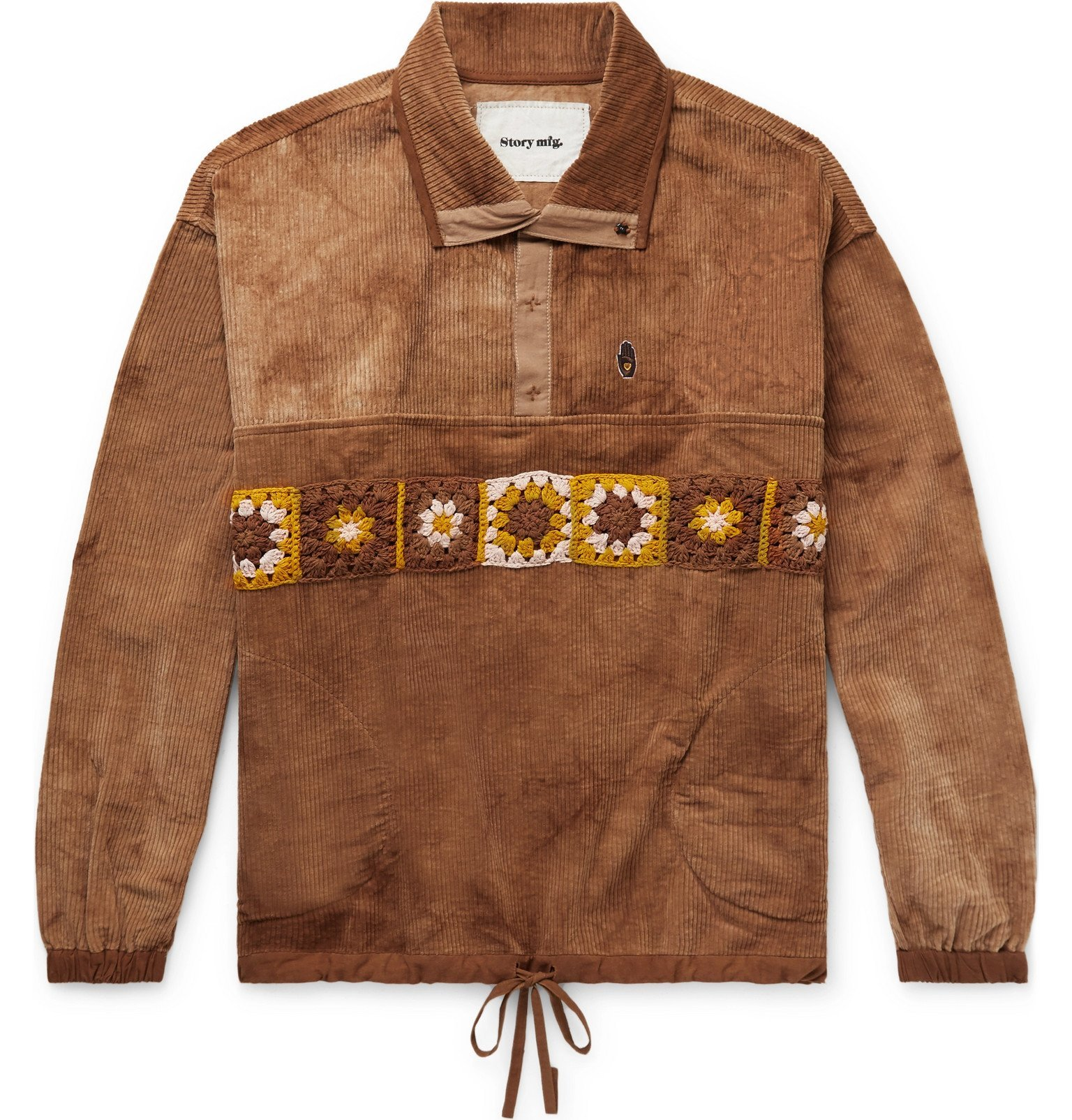 Photo: Story Mfg. - Polite Crochet-Trimmed Tie-Dyed Organic Cotton-Corduroy Sweatshirt - Brown
