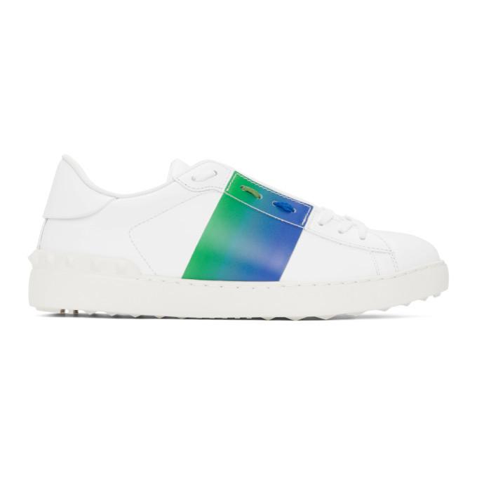 Photo: Valentino White and Blue Valentino Garavani Degrade Open Sneakers