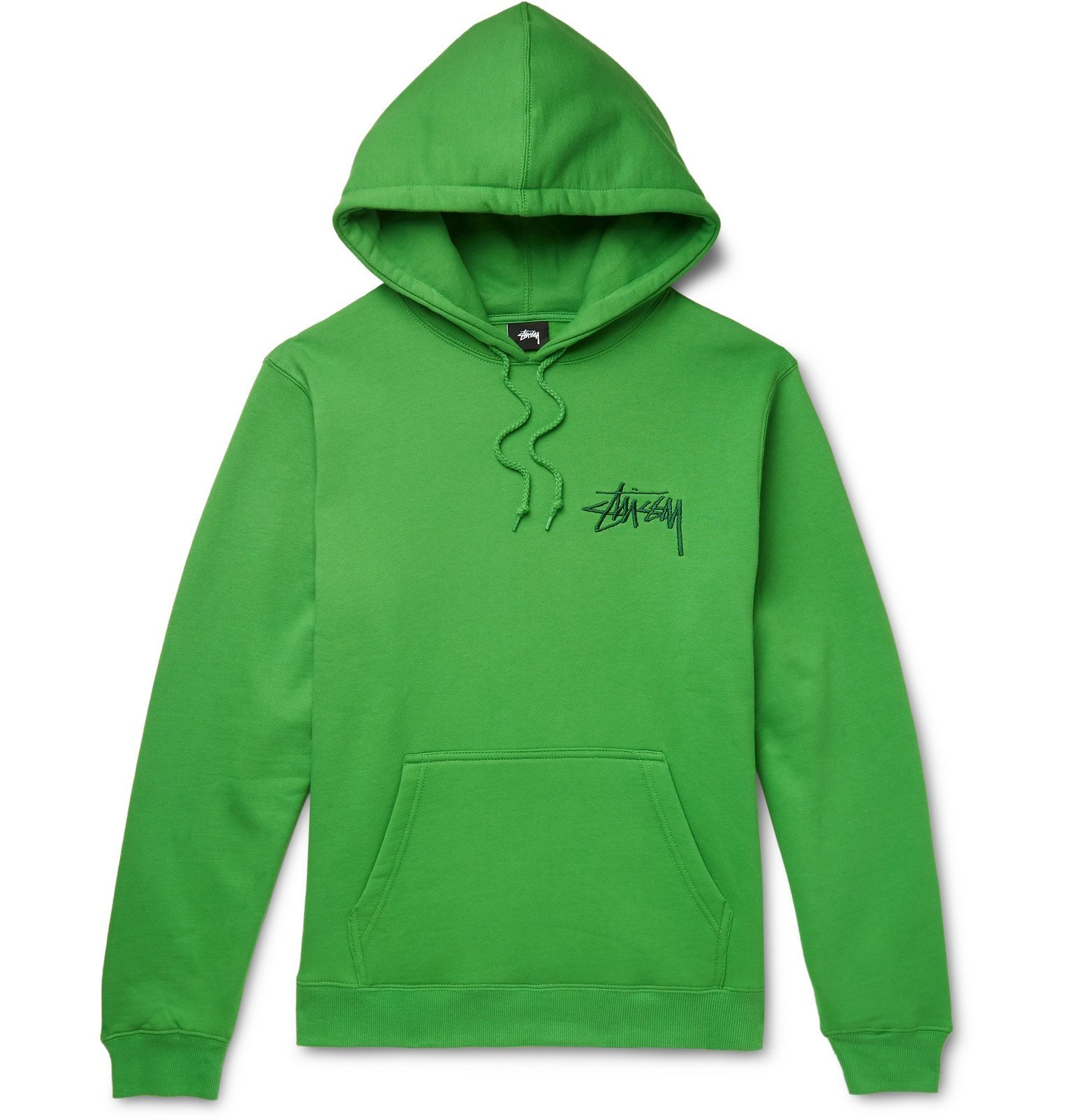 Photo: Stüssy - Logo-Embroidered Fleece-Back Cotton-Blend Hoodie - Green