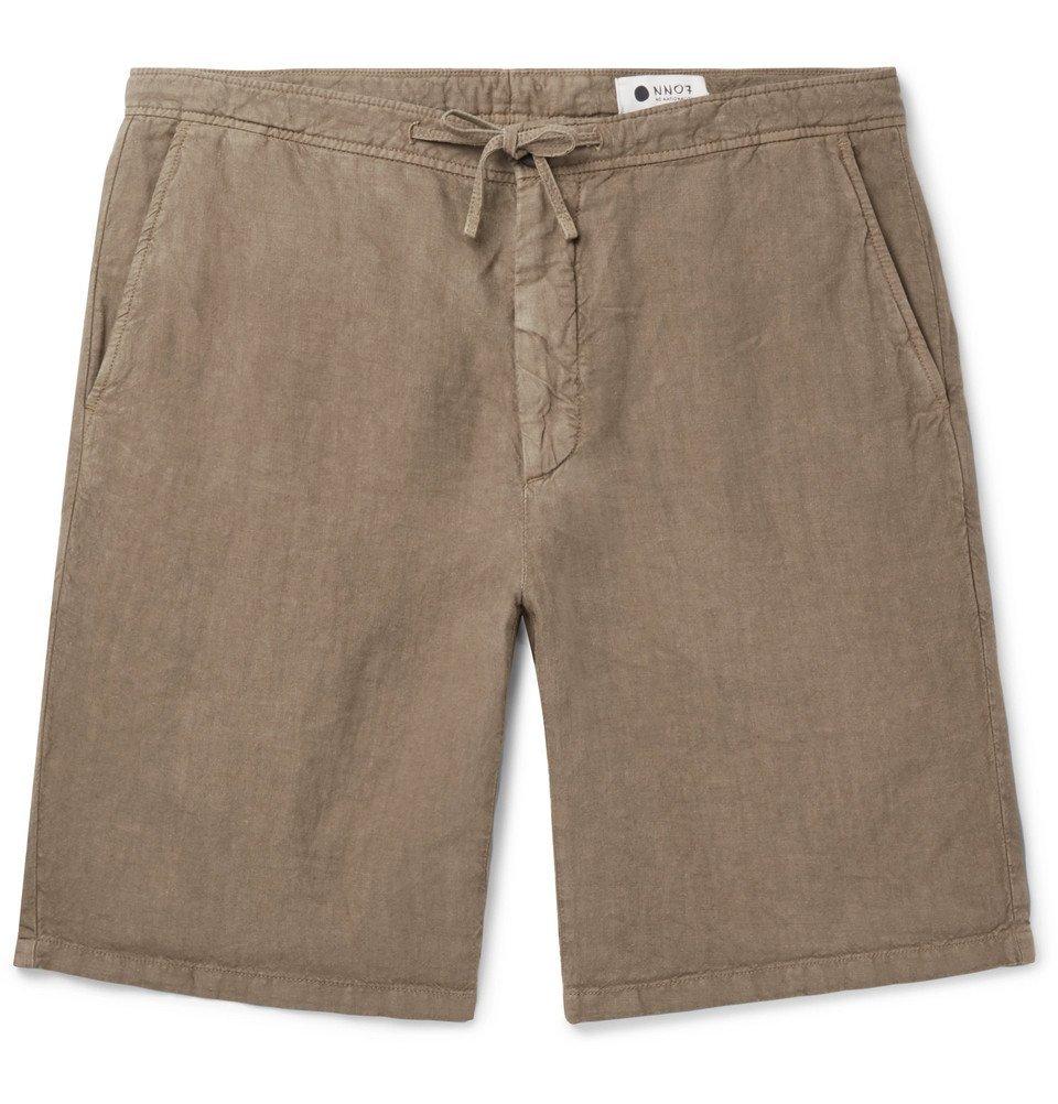 Photo: NN07 - Copenhagen Slim-Fit Garment-Dyed Linen Drawstring Shorts - Green