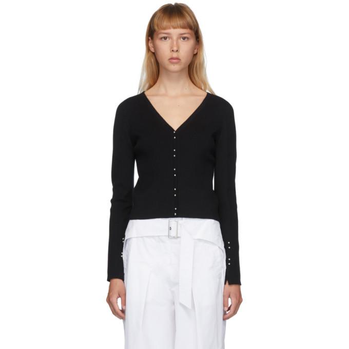 3.1 Phillip Lim Black Wool Buttoned V-Neck Cardigan