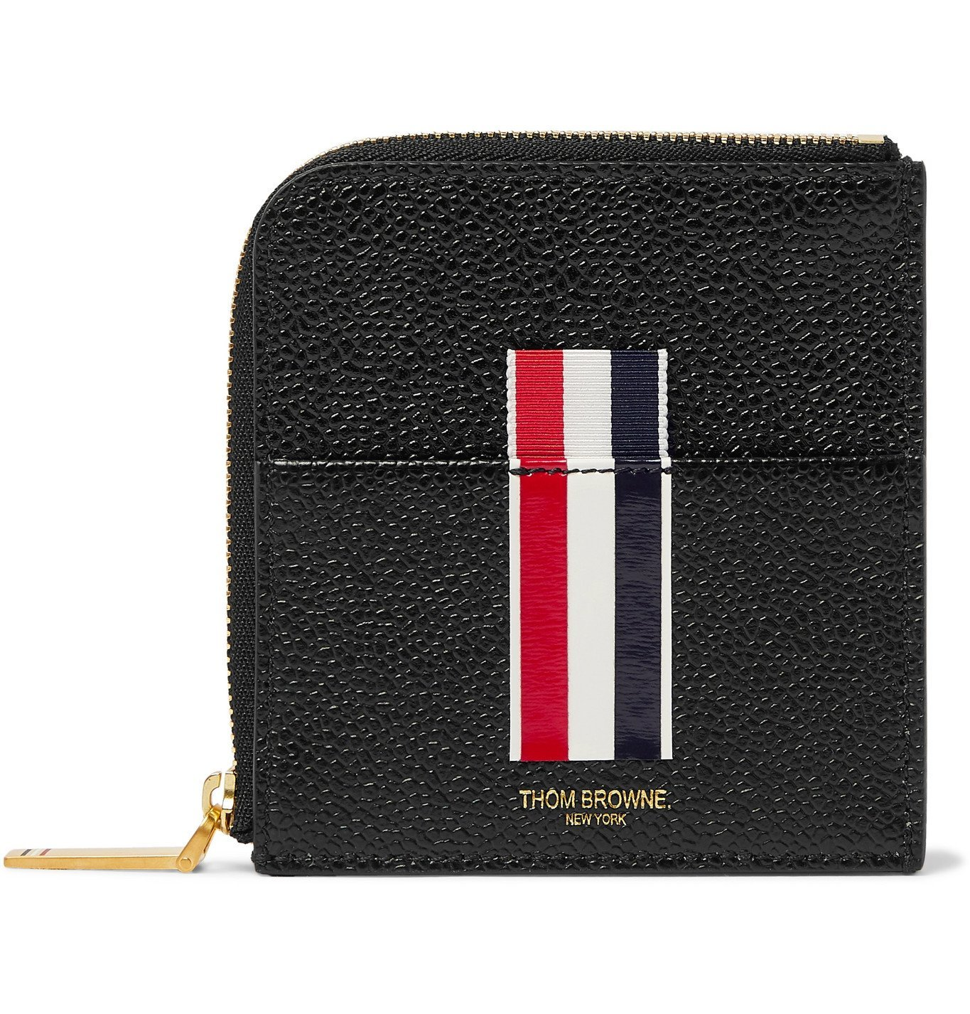 Photo: Thom Browne - Grosgrain-Trimmed Pebble-Grain Leather Zip-Around Wallet - Black