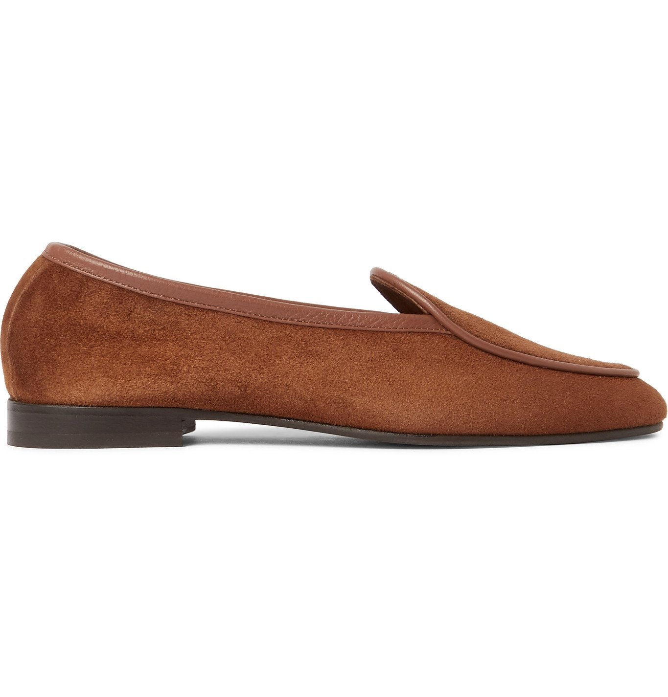 George Cleverley - Hampton Leather-Trimmed Suede Loafers - Brown