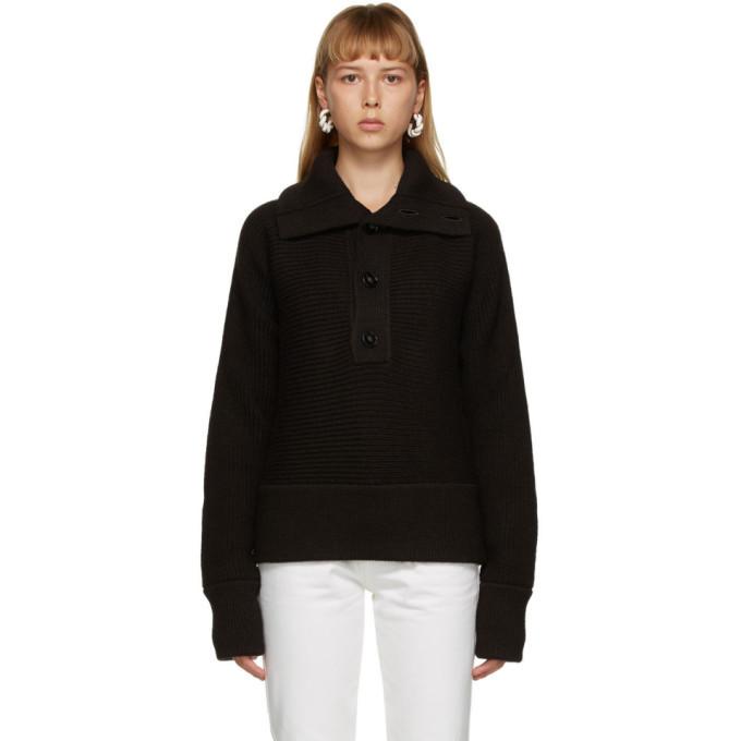 Photo: Bottega Veneta Brown Rib Button-Up Sweater