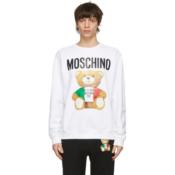 Photo: Moschino White Toy Italian Teddy Bear Sweatshirt