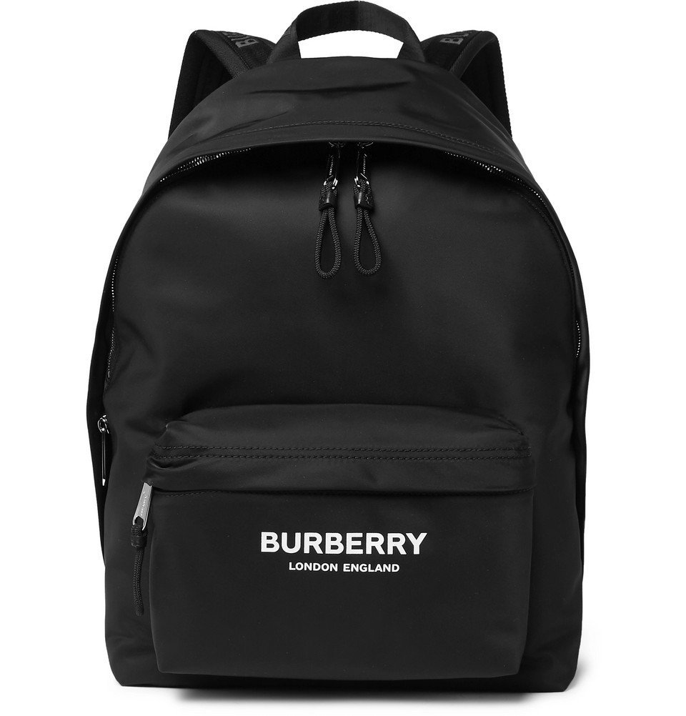 Photo: Burberry - Logo-Print Leather-Trimmed Nylon Backpack - Black