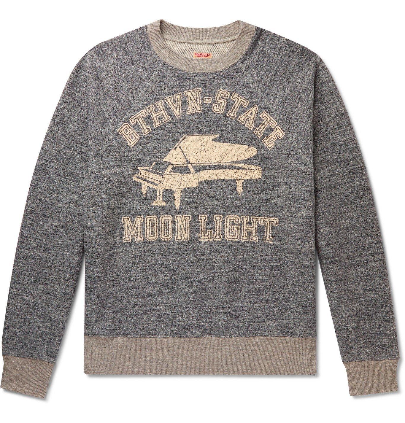 KAPITAL - Printed Mélange Loopback Cotton-Jersey Sweatshirt - Gray