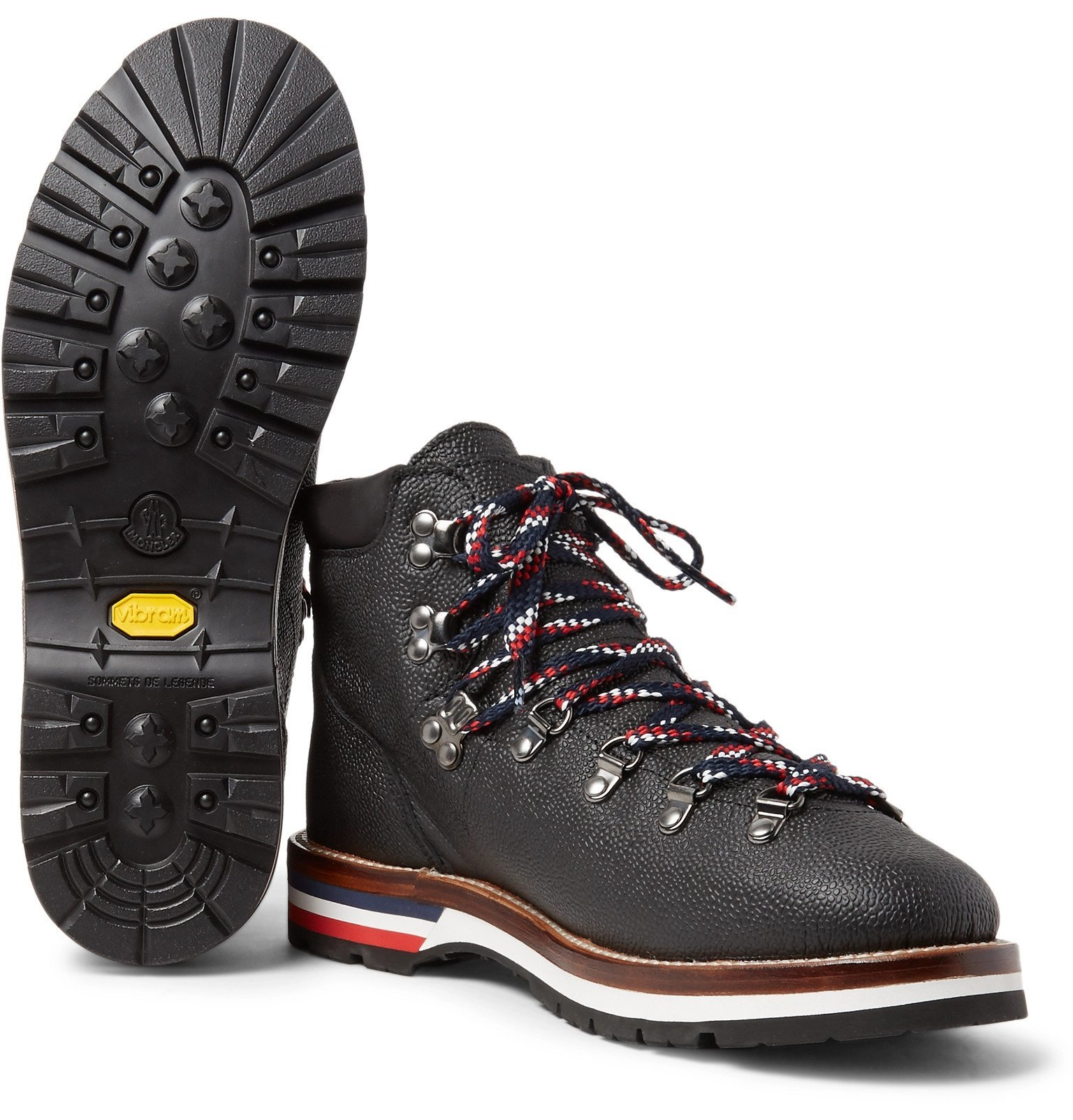 Moncler - Peak Pebble-Grain Leather Hiking Boots - Black