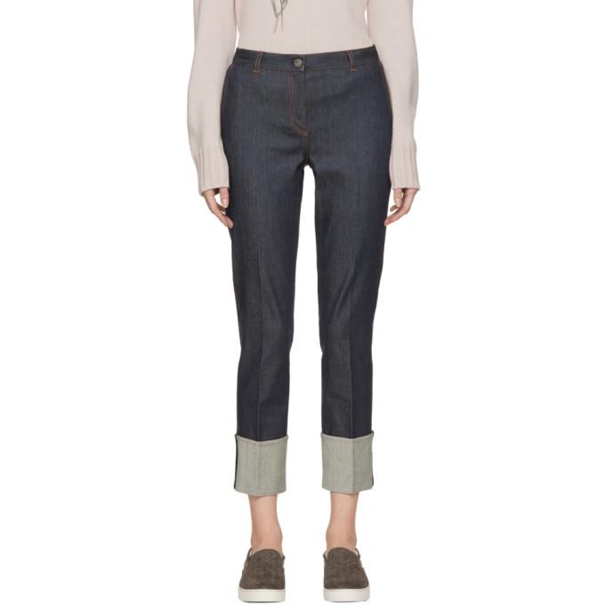 Photo: Bottega Veneta Indigo Cropped Cuffs Jeans