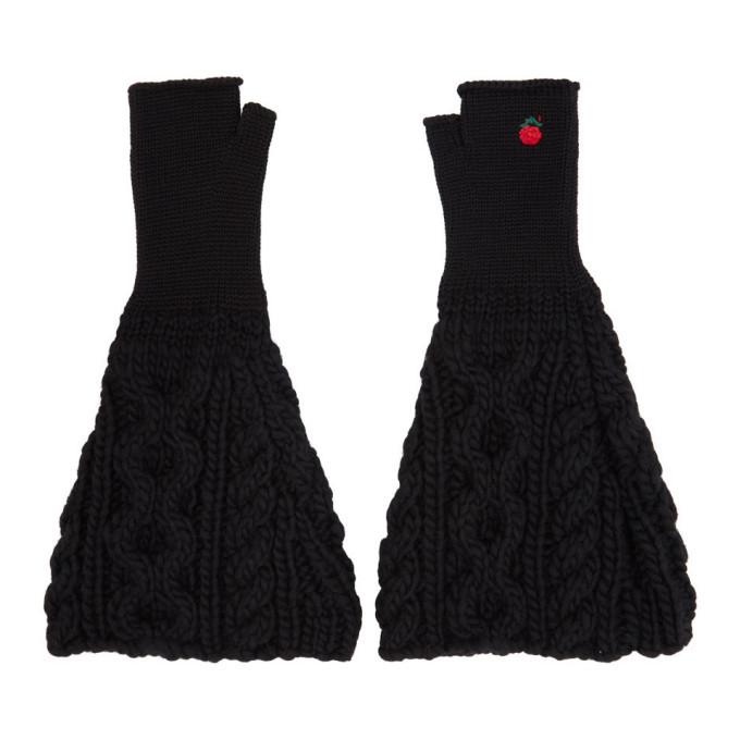 Photo: Undercover Black Knit Fingerless Gloves