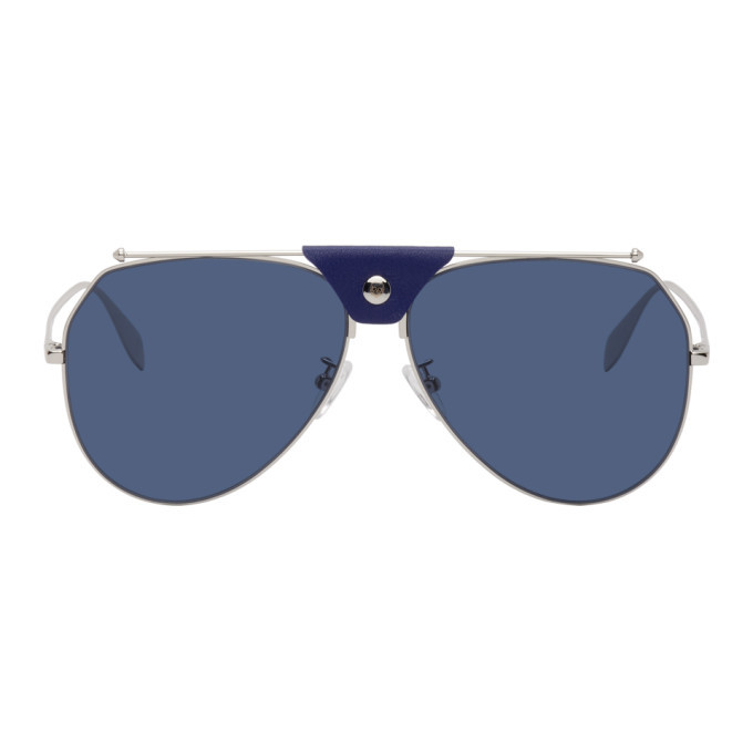 Photo: Alexander McQueen Silver and Blue Top Piercing Sunglasses