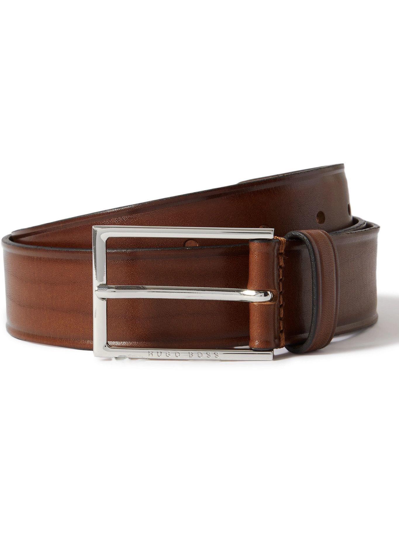 HUGO BOSS - 3.5cm Burnished-Leather Belt - Brown