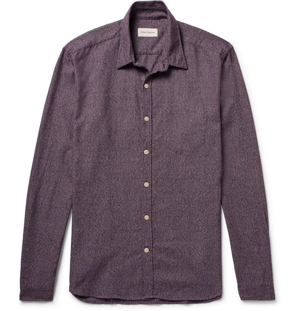 Photo: Oliver Spencer - New York Special Slim-Fit Cotton Shirt - Burgundy