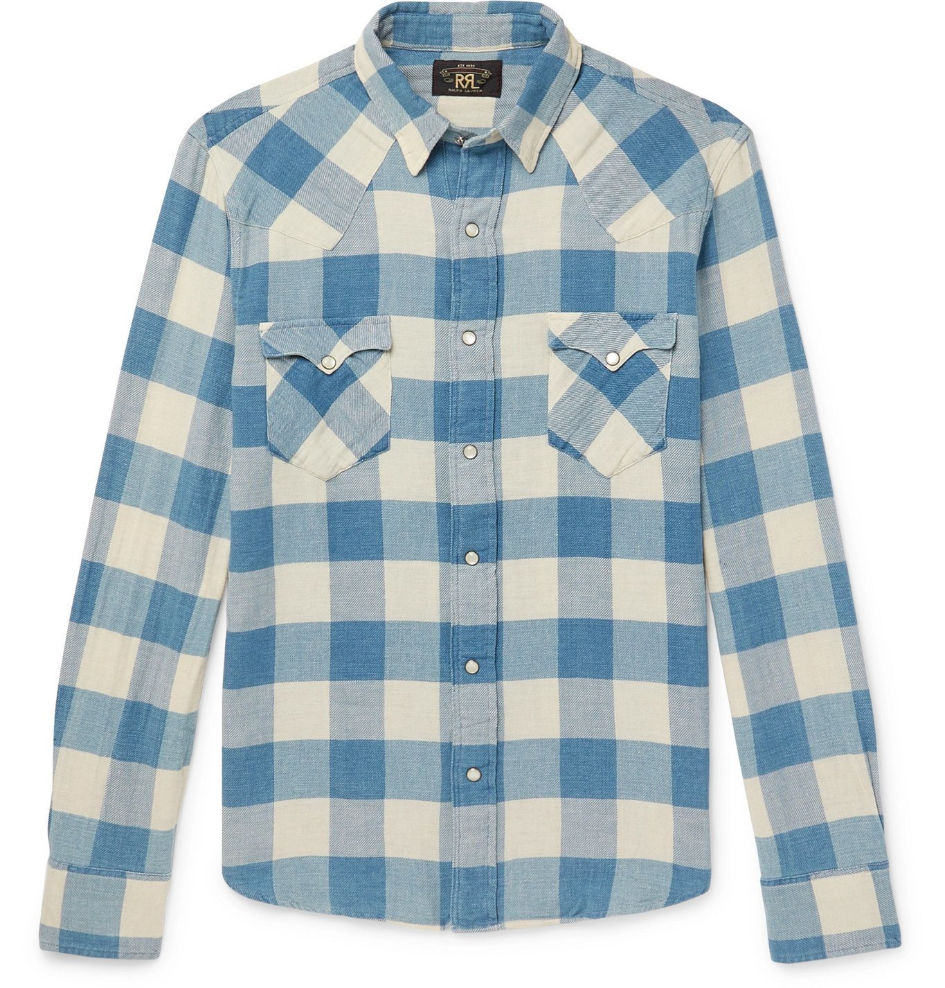 Photo: RRL - Buffalo-Checked Cotton and Linen-Blend Flannel Shirt - Blue