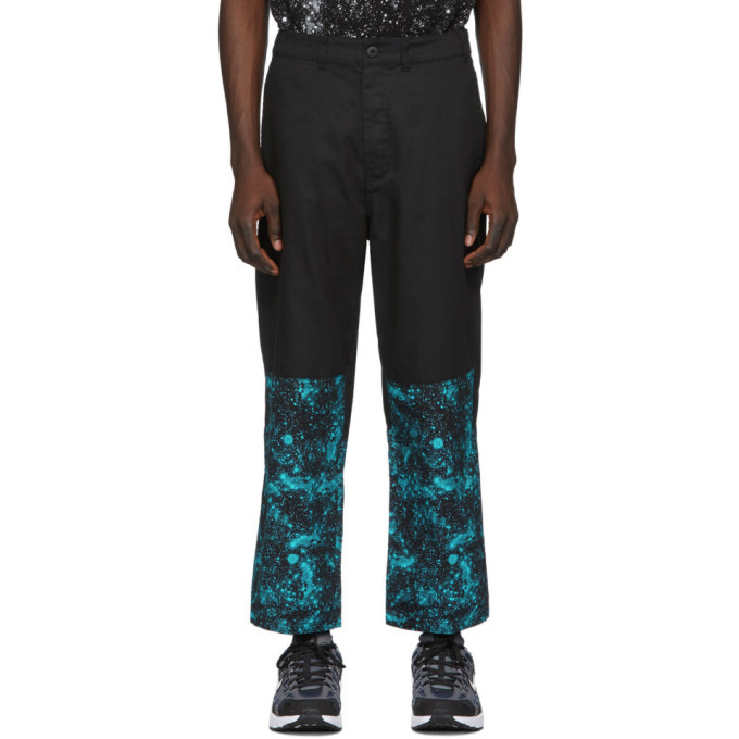 Photo: Clot Black and Blue Graphic Cropped Relaxed Trousers