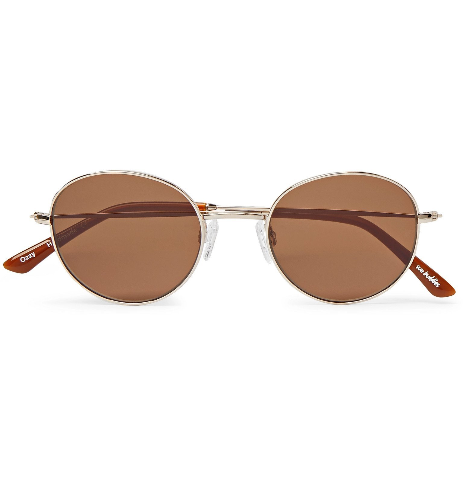 Photo: Sun Buddies - Ozzy Round-Frame Gold-Tone Sunglasses - Brown