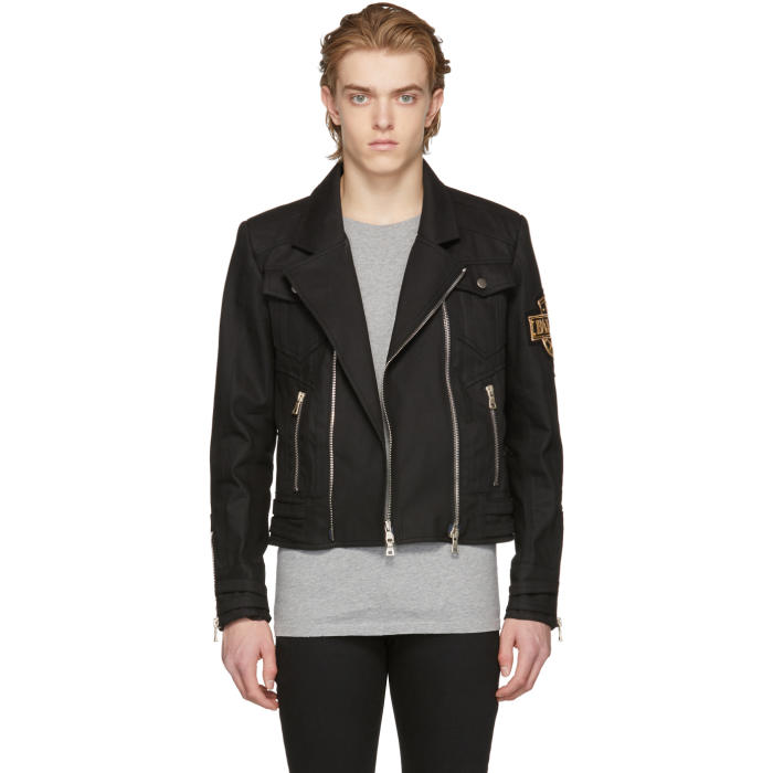 Photo: Balmain Black Denim Biker Jacket