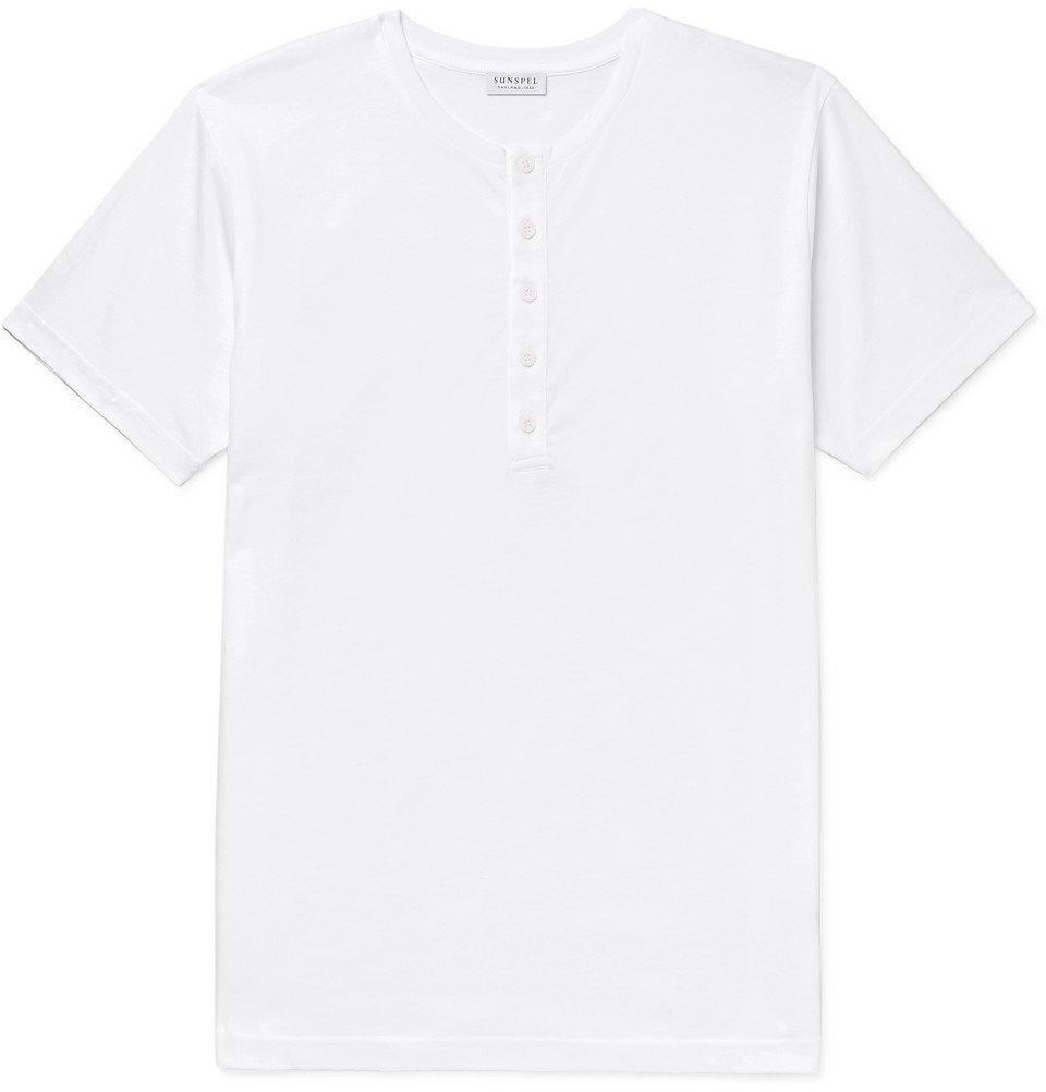 Sunspel - Cotton-Jersey Henley T-Shirt - White