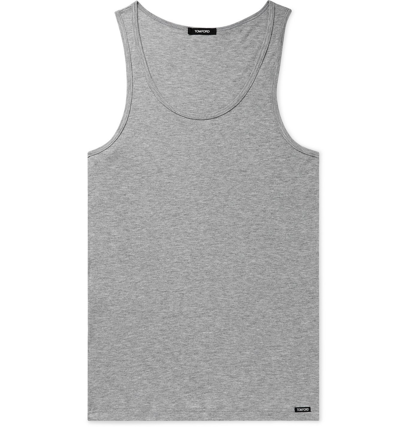 Photo: TOM FORD - Ribbed Mélange Cotton and Modal-Blend Tank Top - Gray