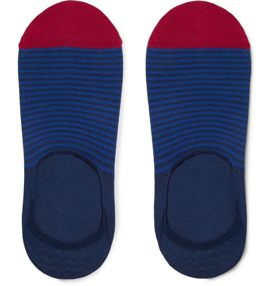 Photo: Paul Smith - Striped Mercerised Stretch Cotton-Blend No-Show Socks - Blue