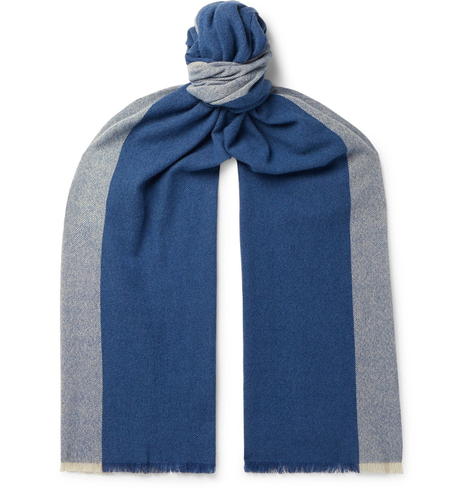 Photo: Loro Piana - Fringed Colour-Block Baby Cashmere Scarf - Blue