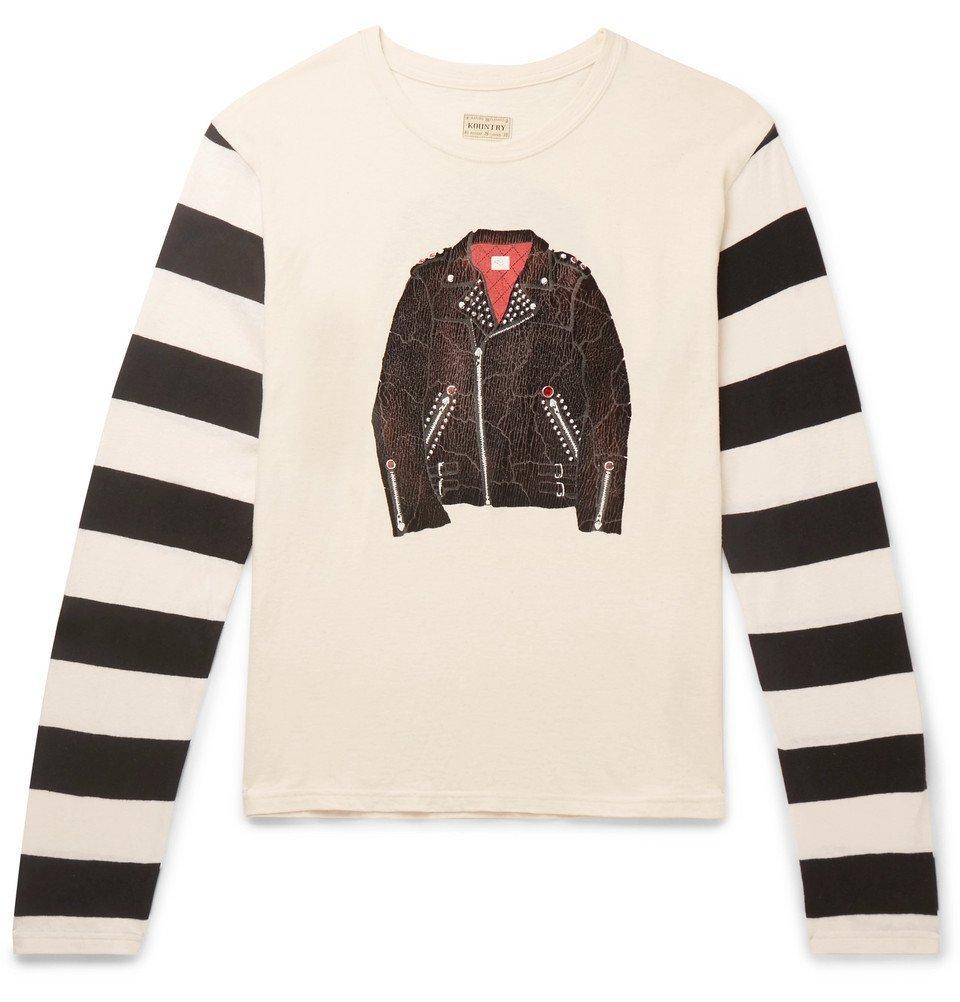 KAPITAL - Panelled Printed Cotton-Jersey T-Shirt - Men - Cream