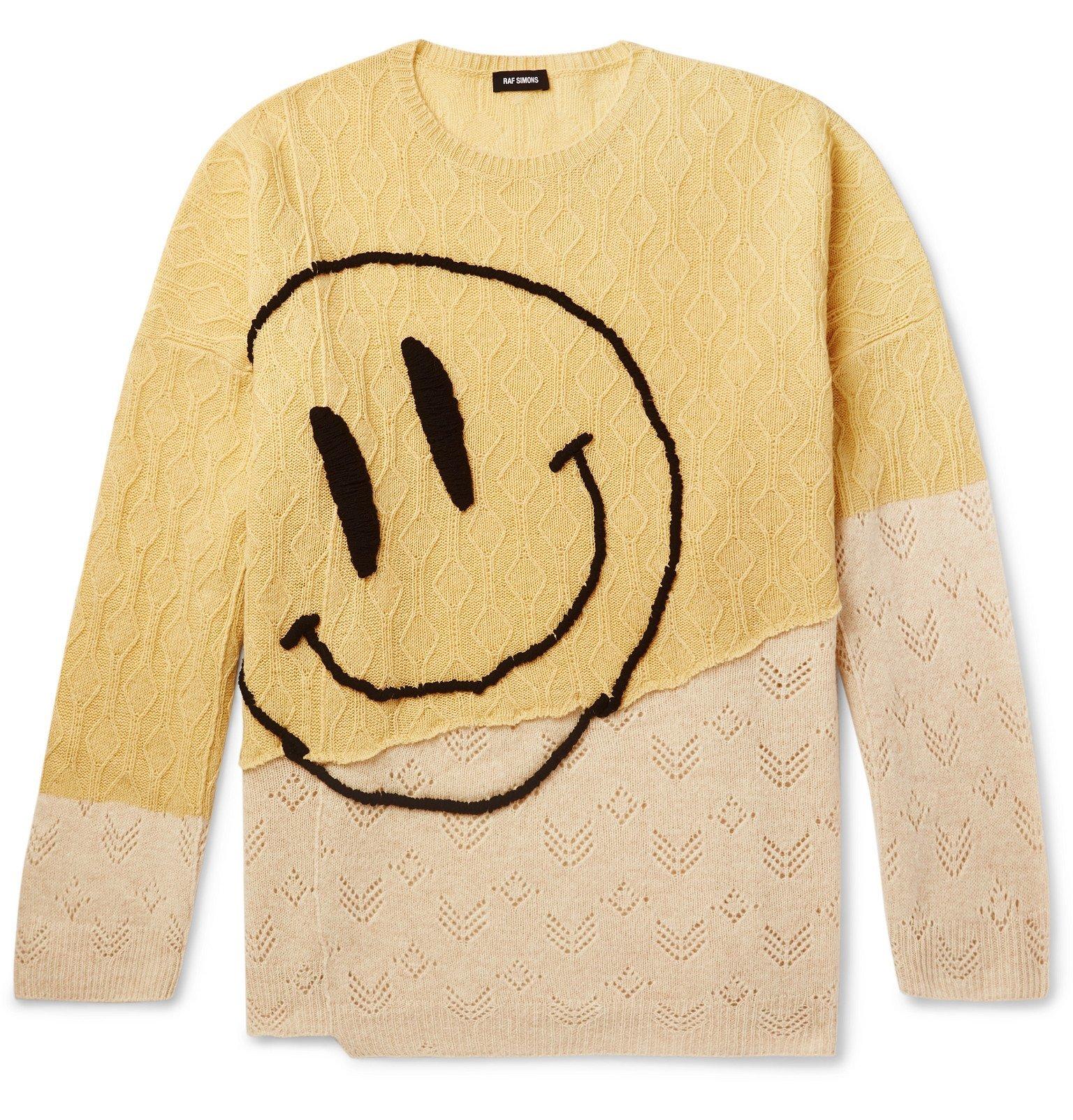 Photo: Raf Simons - Oversized Embroidered Merino Wool Sweater - Yellow