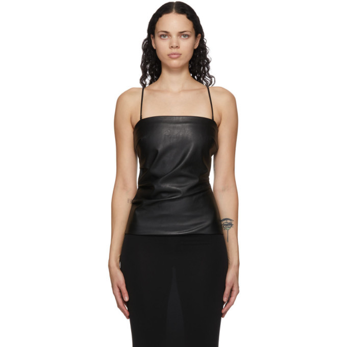 Photo: Wolford Black Faux-Leather Edie Tank Top