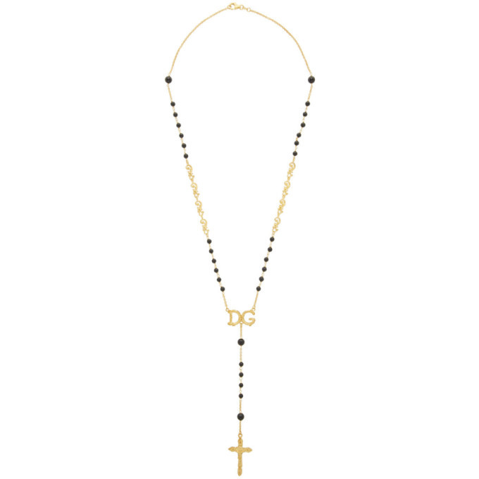 Photo: Dolce and Gabbana Black DG Rosary Necklace