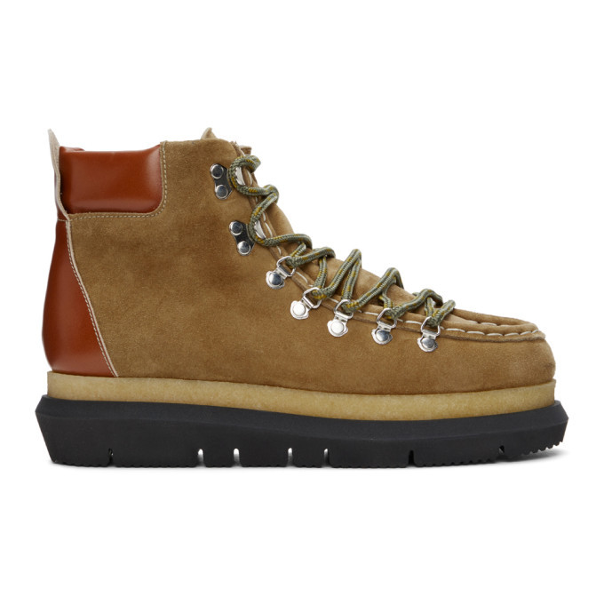 Photo: Sacai Brown Suede Lace-Up Boots