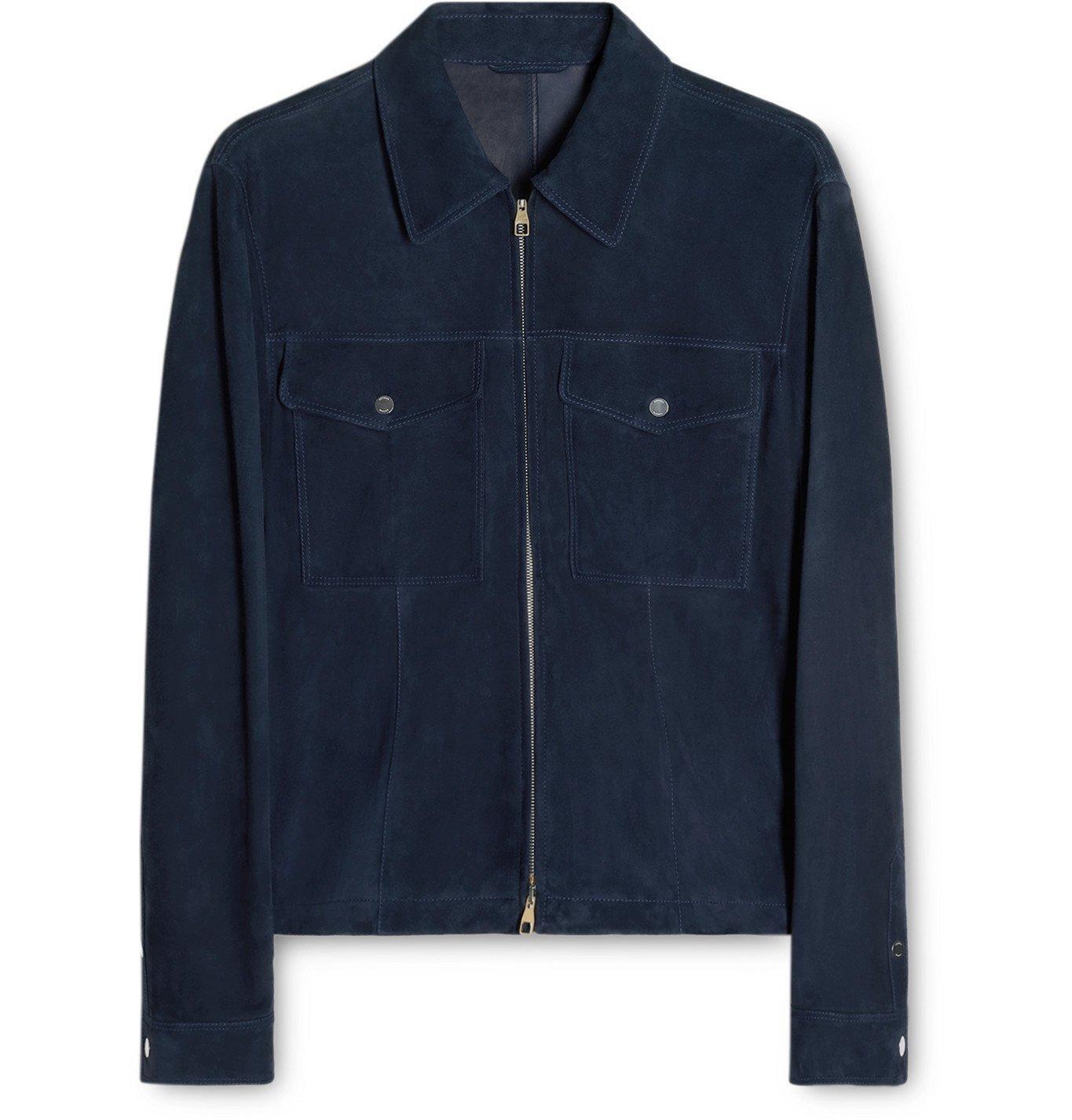 Photo: Dunhill - Suede Blouson Jacket - Blue