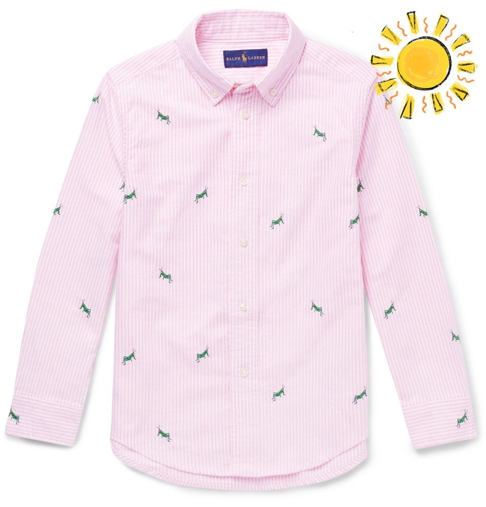 Photo: Polo Ralph Lauren - Boys Ages 8 - 10 Embroidered Striped Cotton Oxford Shirt - Pink
