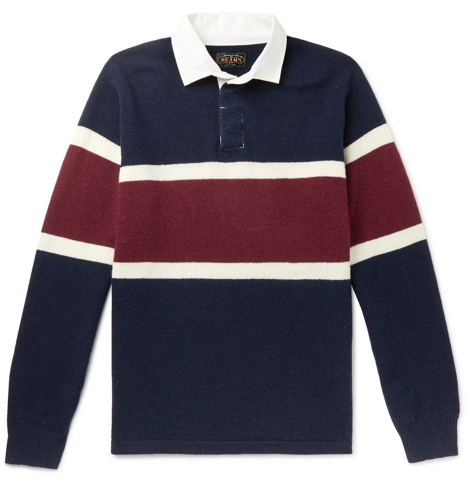 Photo: Beams Plus - Twill-Trimmed Striped Wool Rugby Shirt - Blue
