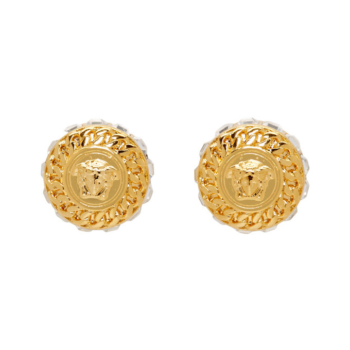 Photo: Versace Gold Crystal Medusa Earrings
